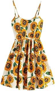 Mini Dress, Womens Cute Sleeveless Sunflower Print Summer Sling Dress Party Sundress