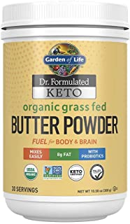 Garden of Life Dr. Formulated Keto Organic Grass Fed Butter Powder, 30 Servings, 8g Fat MCTs and CLA Plus Probiotics - Org...