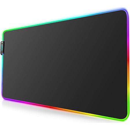 Tappetino per mouse da gioco RGB - Tappetino per mouse a LED con bordi cuciti resistenti e base in gomma antiscivolo, adatto per MacBook, PC, laptop, scrivania (31,5 x 11,8 pollici)