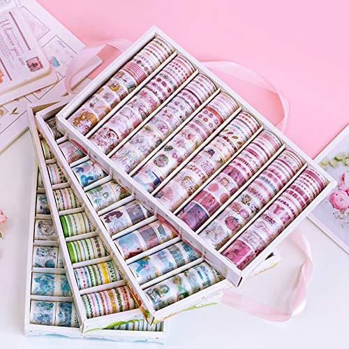 misaki 100個入り マスキングテープ かわいい 少女 お花 自然 マステシール 福袋 和紙テープ 日記手帳飾り 可愛い DIY装飾 剥がしやすい