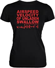 Old Glory Airspeed Unladen Swallow Funny Black Juniors Soft T-Shirt