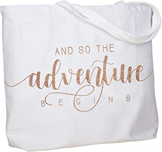 ElegantPark And So the Adventure Begins Wedding Bride Tote Bachelorette Party Gift Personalized Travel Shoulder Bag Canvas White with Champagne Glitter