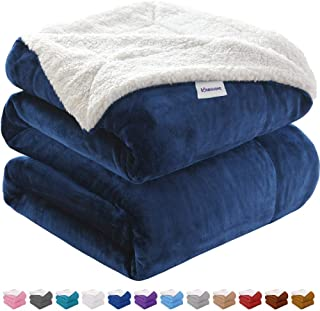 KAWAHOME Oversized Sherpa Blanket Extra Warm Thick Winter Blanket for Couch Sofa Bed King Size 108 X 90 Inches Navy Blue