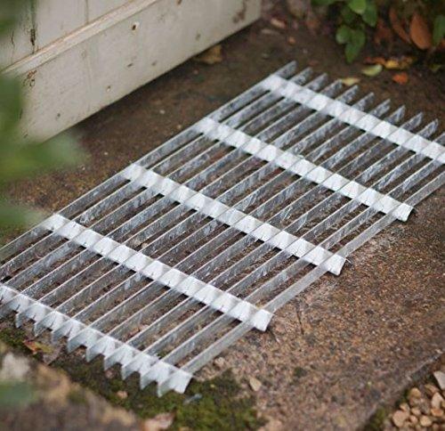 CKB LTD® Felpudo de acero galvanizado para exteriores, para entrada de jardín, puerta delantera, resistente, tamaño grande