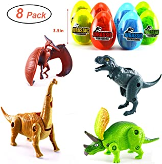 "MIGE 8 Pack 3.5"" Jumbo Dinosaur Easter Eggs with Dinosaur Toys Filled for Kids Boys Girls Toddlers Easter Gifts Easter Party Favors Supplies Easter Basket Stuffers Fillers…"