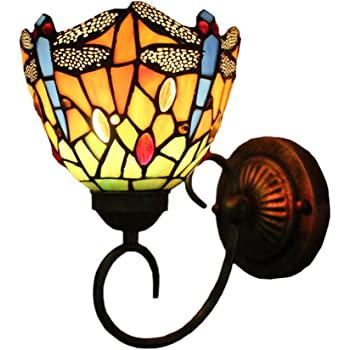 Amazon Com Fumat Tiffany Wall Lamp Led Sconces Stained Glass Corridor Light Dragonfly Mirror Front Lamp E26 110v Gallery Wall Lights Passage 6 Hallway Light Home Improvement