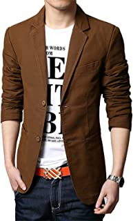 chouyatou Men's Slim 2-Button Single Breasted Cotton Lightweight Blazer Jacket Sport Coat
