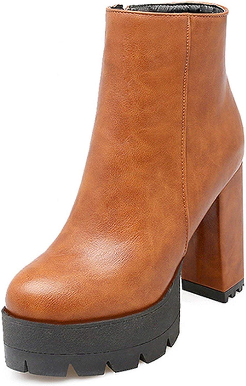 Summer-lavender Spring Women Short Boots High Heels Platform Heels Zipper Brown Autumn Boots