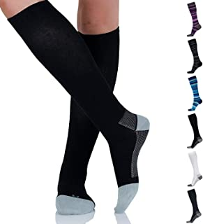 Cotton Compression Socks for Women & Men - Comfortable & Breathable Support Stockings for Nurses, Travel, Pregnancy, Flight, Recovery - Boost Circulation to Fight Edema, Shin Splint & Pain (Black,L)