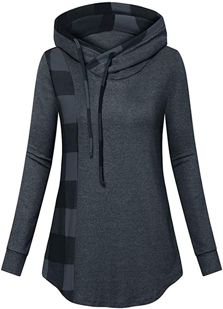 Girls' Hoodie, Misaky Autumn & Winter Casual Plaid Patchwork Print Long Sleeve Pullover Hooded Sweatshirt Jumper