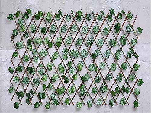 JIAN Simulation Holzzaun Teleskoppflanze Gartenbedarf DIY. Courtyard Innen- und Außenbildschirm Gartendekoration billig Exquisite (Color : Grape Leaves)