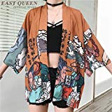 Kimonos Donna 2020 Giapponese Kimono Cardigan Cosplay Camicia Camicetta per le Donne Giapponese Yukata Femminile Estate Beach Kimono FF1126 (Taglia Unica,A)