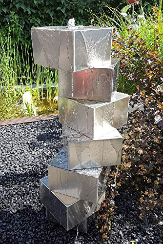 Würfeltreppe Edelstahl matt gebürstet 100 cm Säulenbrunnen Gartenbrunnen