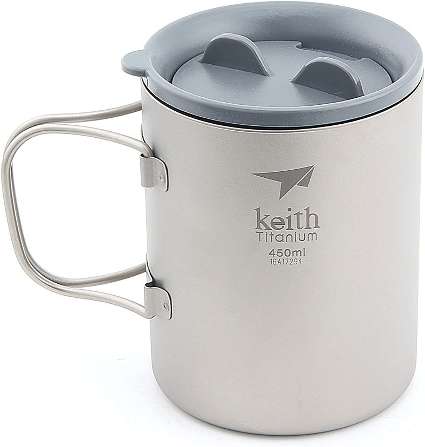 Keith Pure Titanium Double Wall Water Mugs Ultralight with Folding Handles Plastic Cover