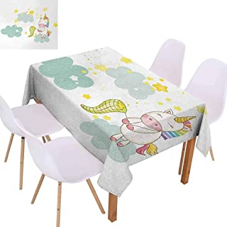 UHOO2018 Unicorn Decorative Table Cover Baby Mystic Unicorn Girl Sitting Fluffy Clouds and Hunting Nursery Image Tabletop Decoration Green Yellow 70 quot x120 quot