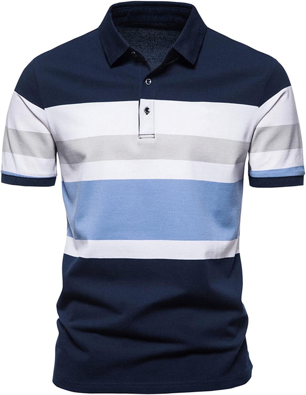 Maryia Men's Summer Polo Shirt Short Sleeve Regular Fit Stripe Jersey Vintage Irregular Color Block Patchwork T Shirts
