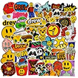 Laptop Stickers 50pcs Pack, Fashion Brand Logo Water Bottle Luggage Skateboard Sticker for Kids/Teen, Cool Vinyl Decal for Girl Travel Case Phone Notebook - Drew House
