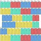Lictin 70 PCS Portachiavi Targhette per Chiavi - Anelli per Portachiavi con Inserto per Etichetta e Rondella Sdoppiata