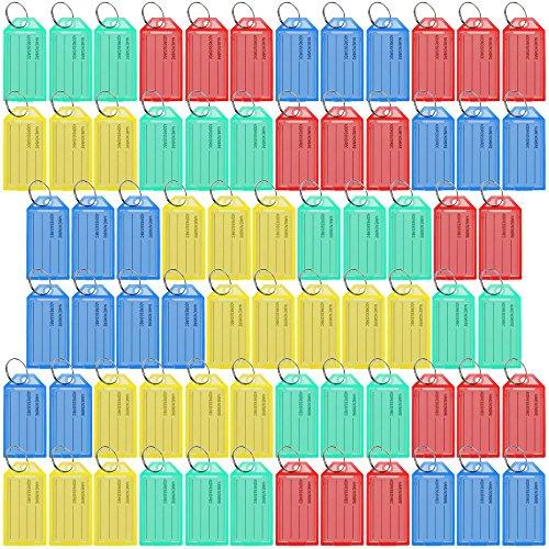 Lictin 70 Schlüsselanhänger, Schlüsselschilder, Kofferanhänger, bunt gemischt, mit auswechselbarem Etikett (Mehrfarbig)