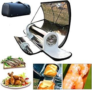BBQ Grill Solar Cooking, 4.5L Portable Parabolic Solar Cooker Stainless Steel Stove Oven Smoke Free, Pizza Oven Outdoor Ca...