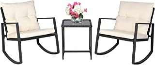 SUNCROWN Outdoor Patio Furniture 3-Piece Bistro Set Black Wicker Rocking Chair - Two Chairs with Glass Coffee Table (Beige Cushion)