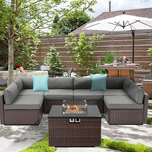 Outdoor 7 Piece Sectional Sofa Propane Fire Pit, Dark Brown Patio Furniture Set w 32-inch 40,000 BTU Square Wicker Fire Table Tank 20 gal Outside for Garden, Poolside, Backyard