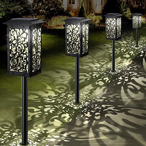 Garten Solarleuchten für Außen 4 Stück Solarlampen für Außen Garten IP65 Wasserdicht Dekorative LED Solar Gartenleuchten für Terrasse Rasen Garten Hofwege Wegeleuchten