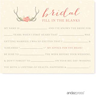 Andaz Press Woodland Deer Wedding Collection, Fill in the Blanks Advice for the Bride-to-Be Bridal Shower Game Cards, 20-Pack