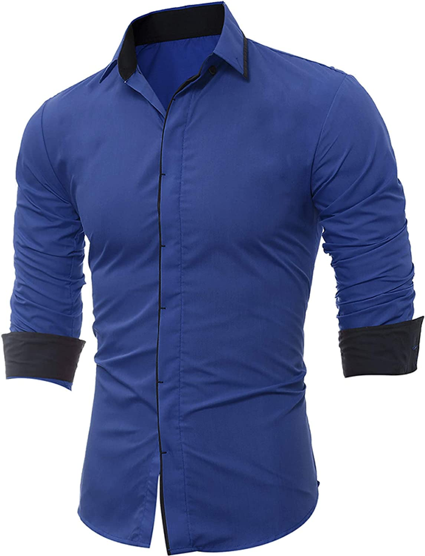 Men's trend rank Casual Slim-fit Shirt Retro Placket Concealed Arlington Mall Fashi Lapel