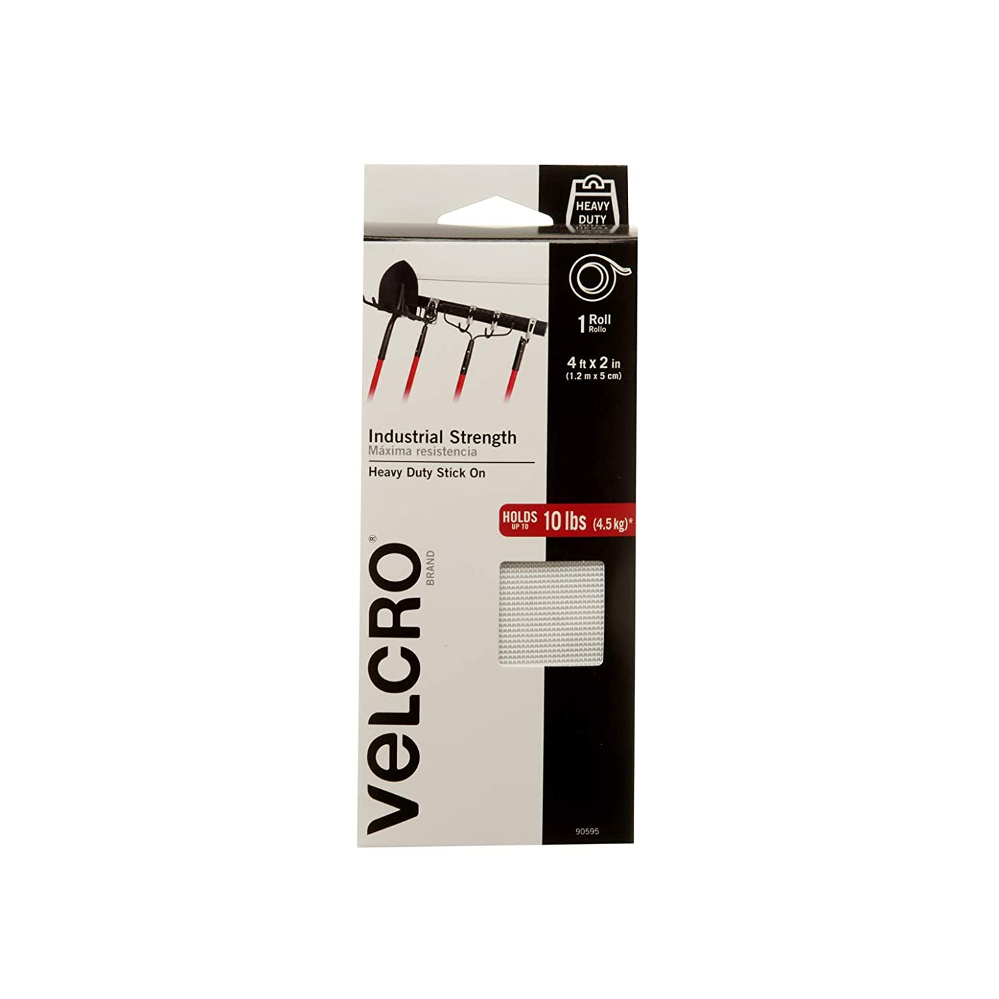 VELCRO Brand Industrial Strength Fasteners | Stick-On Adhesive | Professional Grade Heavy Duty Strength Holds up to 10 lbs on Smooth Surfaces | Indoor Outdoor Use | 4ft x 2in Tape, 4 Sets, White