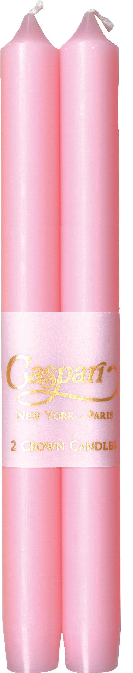 Caspari - Fancy 10-Inch Taper Dripless, Smokeless, Candlesticks, Petal Pink, Set of 2