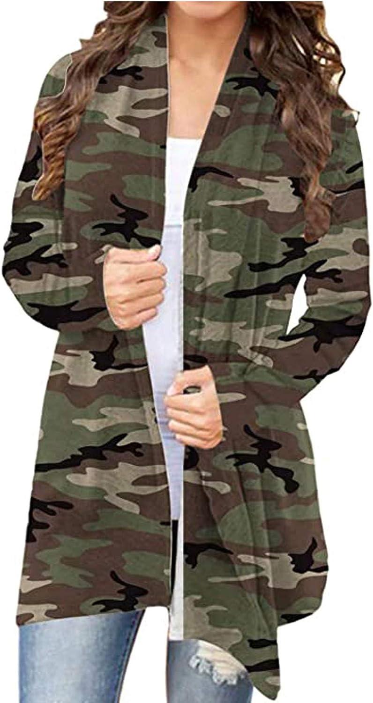 Forwelly Womens Fall Winter Lightweight Jacket Open Front Long Cardigan Fashion Leopard Print Long Sleeve Coat