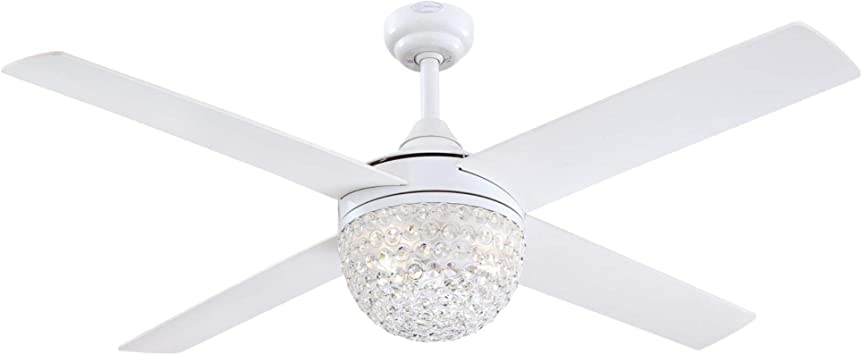 Amazon Com Westinghouse Lighting 7226200 Kelcie Contemporary Led Ceiling Fan With Light And Remote Control 52 Inch White Finish Crystal Jewel Shade Home Improvement