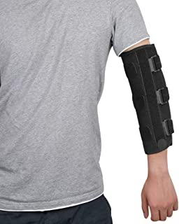 fibee Adult Elbow Immobilizer Stabilizer, Adjustable Compression Elbow Support Brace Splint for Women and Men for Night Sleeping Tendonitis Pain Relief of Cubital Tunnel Syndromean, Back Pull