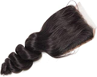 Beauty Forever Brazilian Loose Wave Hair 4x4 inch Free Part Lace Closure 100% Human Virgin Hair (14 inch)