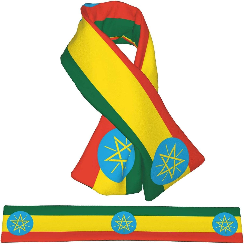 Winter Scarfs Ethiopia Flag Scarves Wraps Neck Warmer Flannel Winter Cross Tie Scarves