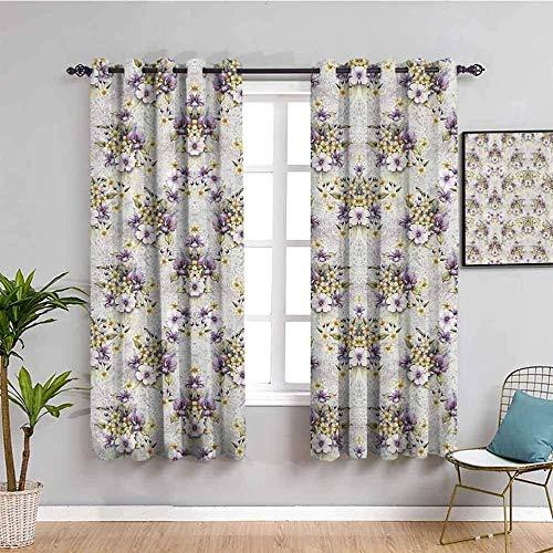 ZLYYH Ventanas Con Cortinas Morado flores plantas moda 132x214cm Cortina opaca 95% cortinas opacas que bloquean cortinas para ventana para habitación de niños, sala de estar, dormitorio, juego de 2