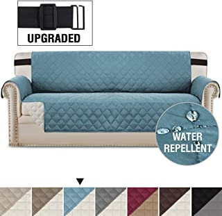 Reversible Sofa Slipcover Quilted Furniture Protector with 2 Elastic Strap Water Resistant Sofa Covers Seat Width Up to 78 Slipcover Protect from Dogs (Oversized Sofa, Smoke Blue/Beige)