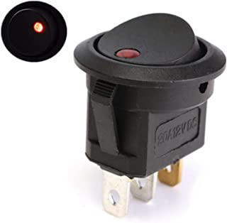 LED Dot Light Car Switch Auto Boat Round Rocker 3Pin ON/Off Toggle SPST (Color : Red)