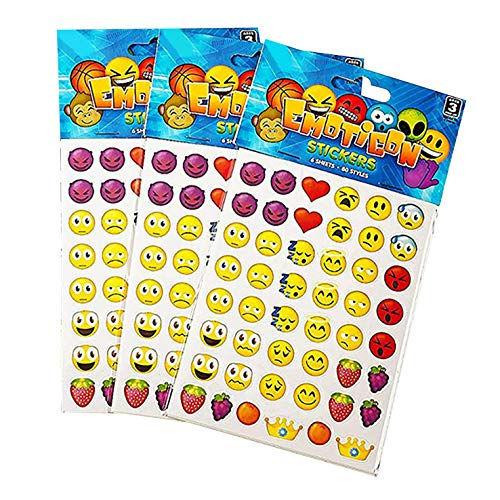 Kicko Emoji Sticker Sheets - Over 3,000 Stickers - 12 Packs Emoticon Sticker Assortment - Party Favors, Game Prizes, Novelty Toys, Wall Decals, Creative Scrapbooks, Arts and Crafts