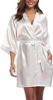 Women's Pure Color Silk Kimono Short Robes for Bridesmaids and Bride