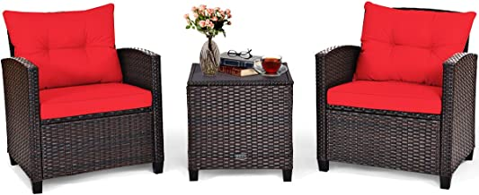 Tangkula 3 Pieces Patio Furniture Set, PE Rattan Wicker 3 Pcs Outdoor Sofa Set w/Washable Cushion and Tempered Glass Table...