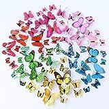 72 Pezzi 6 Colori 3D Farfalle Adesive da Parete Arte Wall Adesivo Murale Magnete a Farfall...
