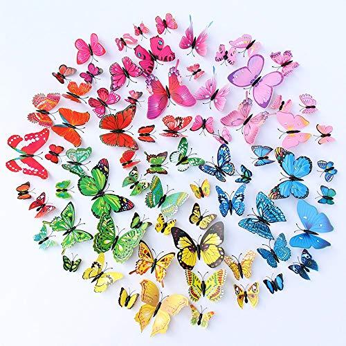 72 Pezzi 6 Colori 3D Farfalle Adesive da Parete Arte Wall Adesivo Murale Magnete a Farfalla da Frigorifero per Soggiorno Camera da Letto Decorazione Casa Stickers Murali (Colore)