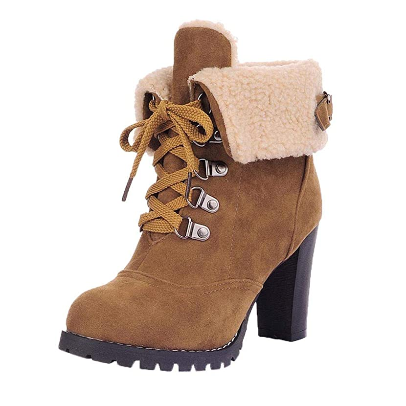 SMALLE ??? Women Lace-Up High Thick Short Boots Shoes Leisure Ankle Boots High-Heel Boots