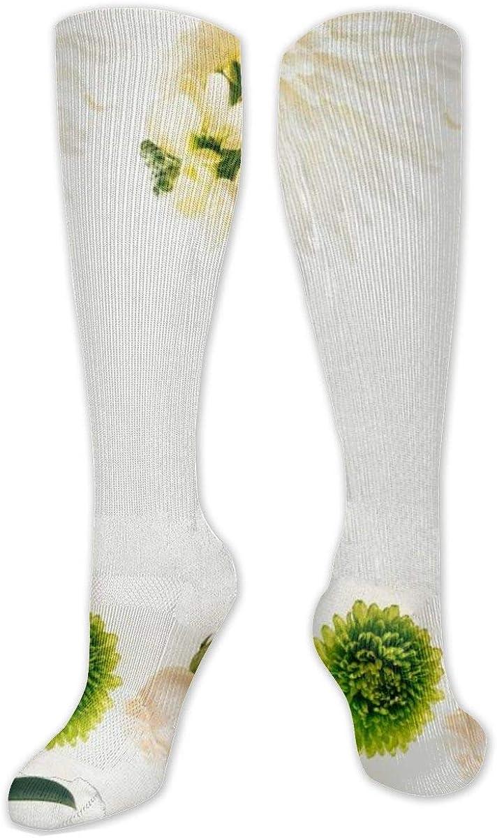 Green Chrysanthemum Knee High Socks Leg Warmer Dresses Long Boot Stockings For Womens Cosplay Daily Wear