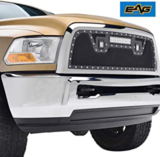 EAG Grille Rivet Black Stainless Steel Wire Mesh with 3 LED Lights Fit for 10-12 Dodge Ram 2500/3500