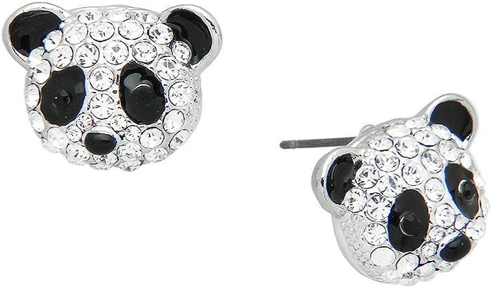 Liavy's Panda Bear Fashionable Earrings - Enamel - Stud - Sparkling Crystal - Unique Gift and Souvenir
