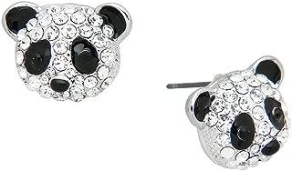 Panda Bear Fashionable Earrings - Enamel - Stud - Sparkling Crystal - Unique Gift and Souvenir