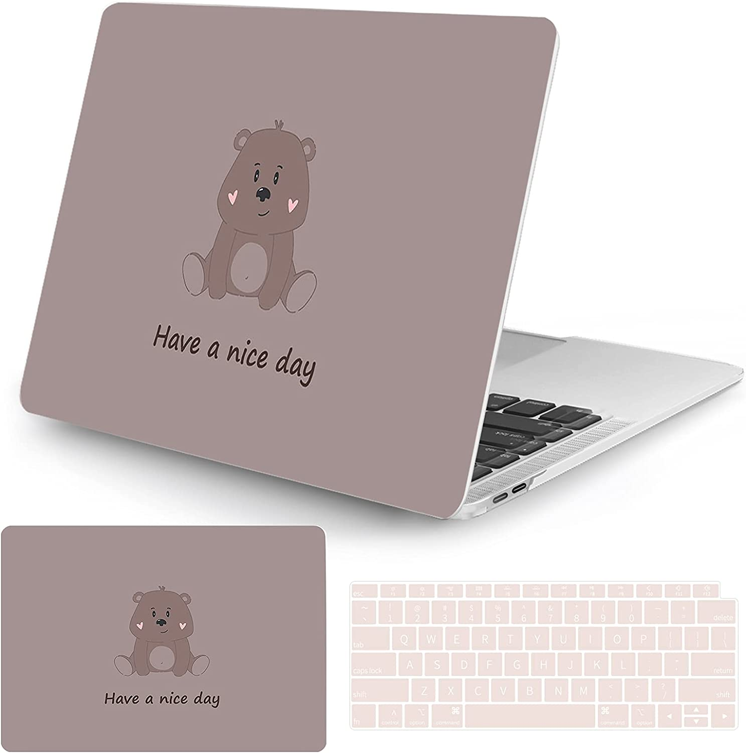 Watbro Compatible with MacBook Air 13 Inch Laptop Case 2020 2019 2018 Release A2337 M1/A2179/A1932 ,Cute Cartoon Pattern Case with Keyboard Cover Skin for MacBook Air 2020 with Touch ID